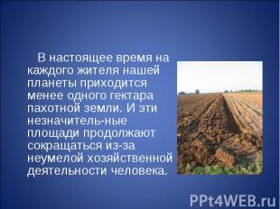 В настоящее время на каждого жителя нашей планеты приходится менее одного гектар