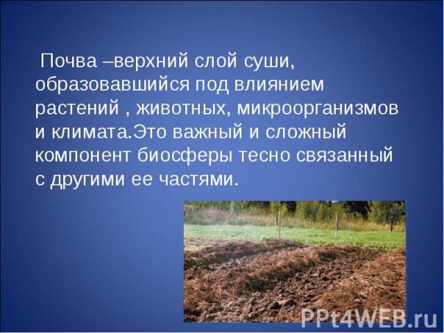 Почва –верхний слой суши, образовавшийся под влиянием растений , животных, микроорганизмов и климата.Это важный и сложный компонент биосферы тесно связанный с другими ее частями. Почва –верхний слой суши, образовавшийся под влиянием растений , живот…