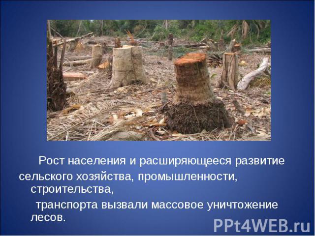 Рост населения и расширяющееся развитие Рост населения и расширяющееся развитие сельского хозяйства, промышленности, строительства, транспорта вызвали массовое уничтожение лесов.
