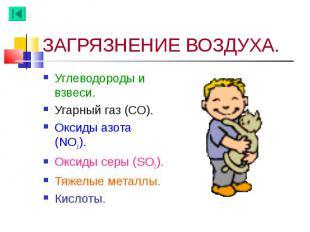Углеводороды и взвеси. Углеводороды и взвеси. Угарный газ (СО). Оксиды азота (NO