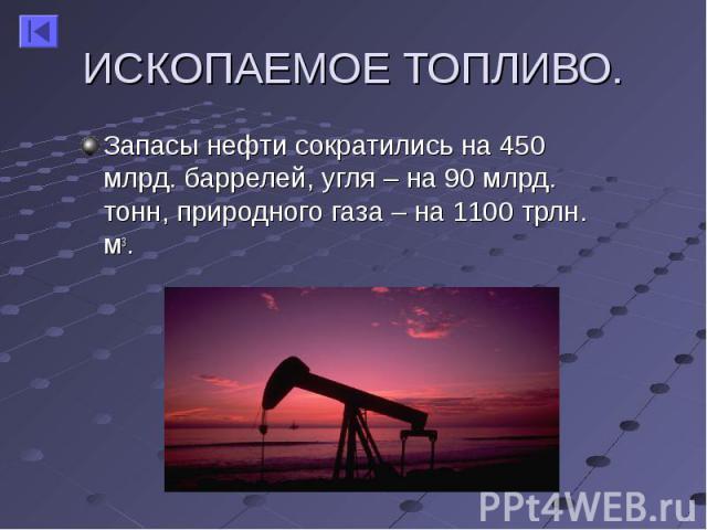 Запасы нефти сократились на 450 млрд. баррелей, угля – на 90 млрд. тонн, природного газа – на 1100 трлн. м3. Запасы нефти сократились на 450 млрд. баррелей, угля – на 90 млрд. тонн, природного газа – на 1100 трлн. м3.