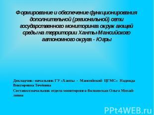 Формирование и обеспечение функционирования дополнительной (региональной) сети г
