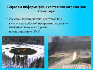 Спрос на информацию о состоянии загрязнения атмосферы фоновые характеристики для