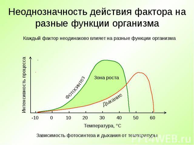 Неоднозначность действия фактора на разные функции организма