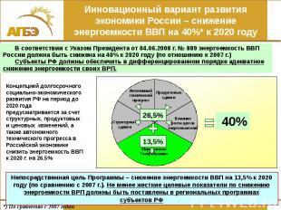 Инновационный вариант развития экономики России – снижение энергоемкости ВВП на