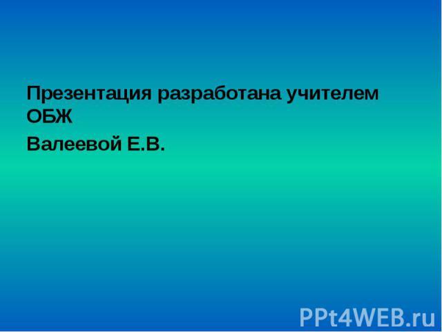 Презентация разработана учителем ОБЖ Презентация разработана учителем ОБЖ Валеевой Е.В.