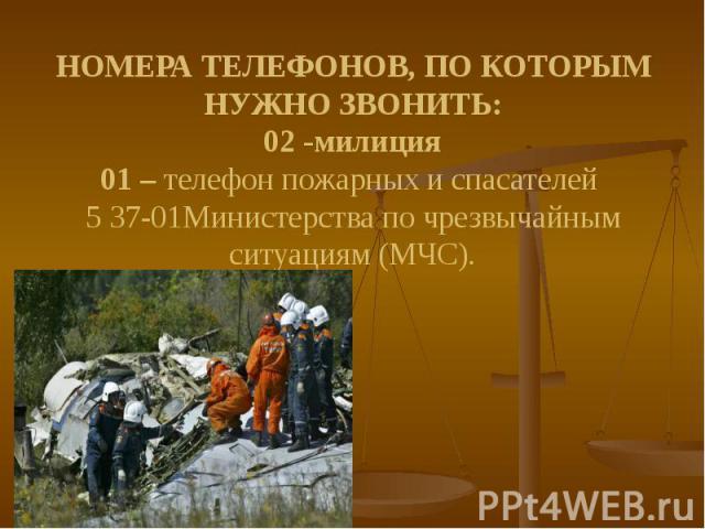 НОМЕРА ТЕЛЕФОНОВ, ПО КОТОРЫМ НУЖНО ЗВОНИТЬ: 02 -милиция 01 – телефон пожарных и спасателей 5 37-01Министерства по чрезвычайным ситуациям (МЧС).