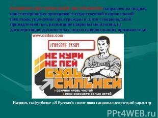 НАЦИОНАЛИСТИЧЕСКИЙ ЭКСТРЕМИЗМ направлен на подрыв конституционных принципов госу