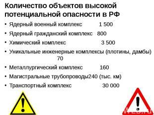 Количество объектов высокой потенциальной опасности в РФ Количество объектов выс
