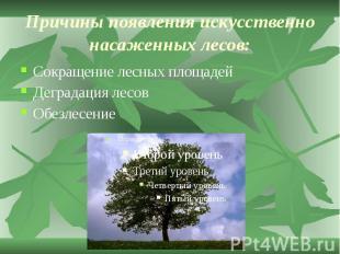 Причины появления искусственно насаженных лесов: Сокращение лесных площадей Дегр