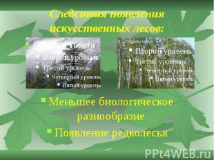 Следствия появления искусственных лесов: Меньшее биологическое разнообразие Появ