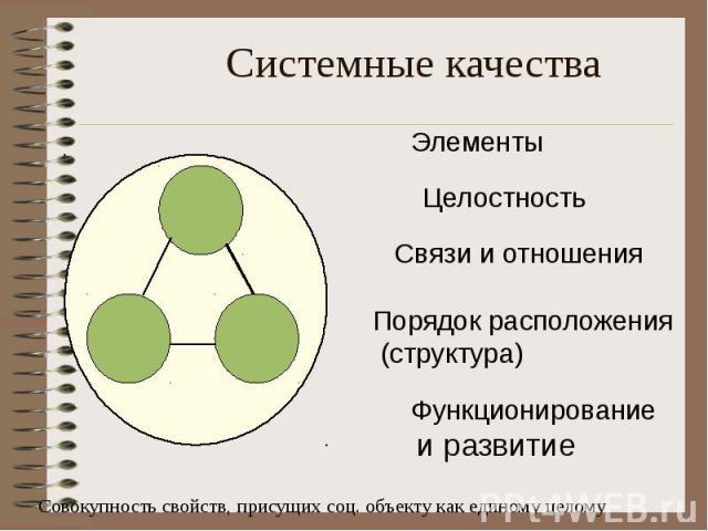 Системные качества Совокупность свойств, присущих соц. объекту как единому целому