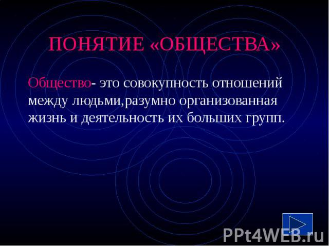 ПОНЯТИЕ «ОБЩЕСТВА» Общество- это совокупность отношений между людьми,разумно организованная жизнь и деятельность их больших групп.