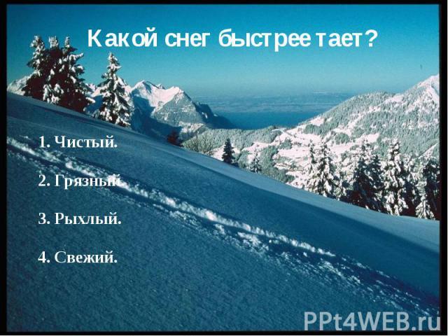 Какой снег быстрее тает? 1. Чистый. 2. Грязный. 3. Рыхлый. 4. Свежий.