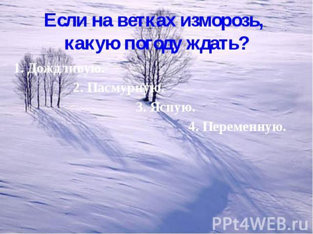 Если на ветках изморозь, какую погоду ждать? 1. Дождливую. 2. Пасмурную. 3. Ясную. 4. Переменную.
