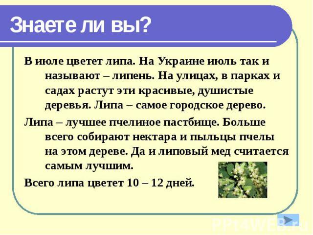 Знаете ли вы? В июле цветет липа. На Украине июль так и называют – липень. На улицах, в парках и садах растут эти красивые, душистые деревья. Липа – самое городское дерево. Липа – лучшее пчелиное пастбище. Больше всего собирают нектара и пыльцы пчел…