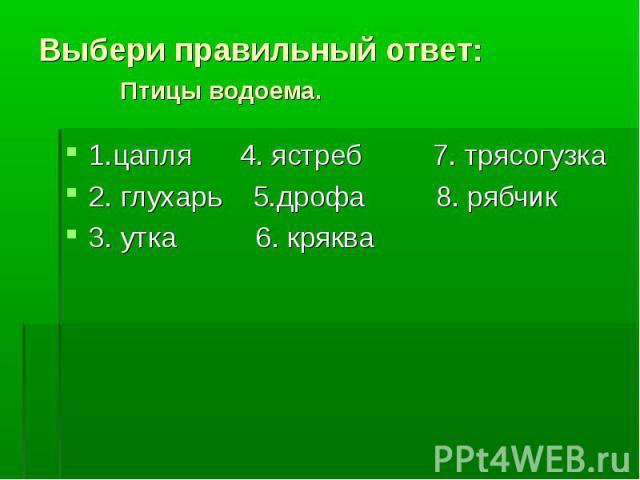 1.цапля 4. ястреб 7. трясогузка 1.цапля 4. ястреб 7. трясогузка 2. глухарь 5.дрофа 8. рябчик 3. утка 6. кряква