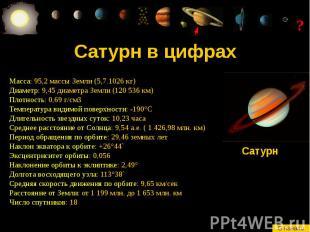 Сатурн в цифрах