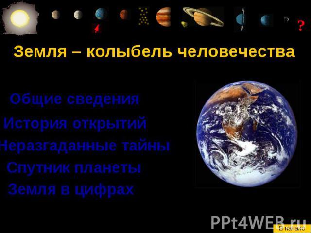 Земля – колыбель человечества