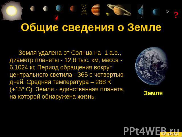 Общие сведения о Земле