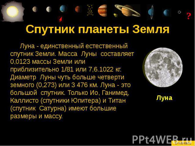 Спутник планеты Земля