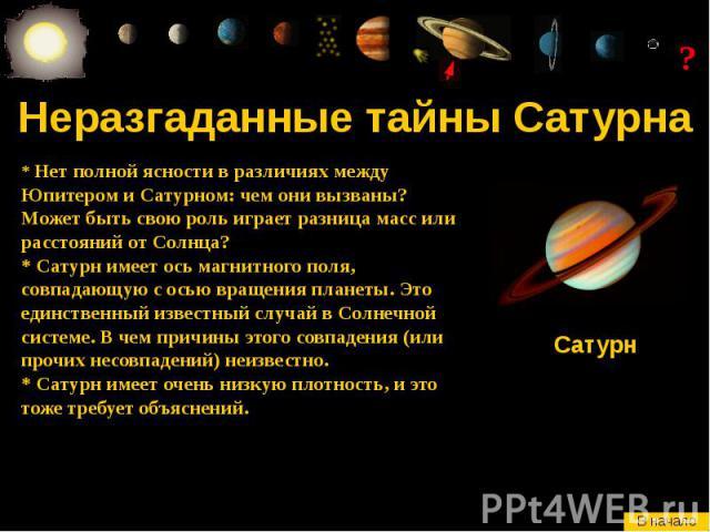 Неразгаданные тайны Сатурна