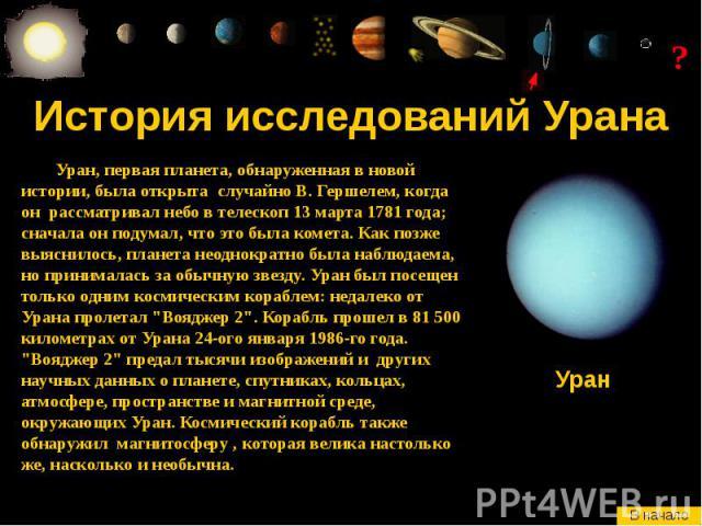История исследований Урана