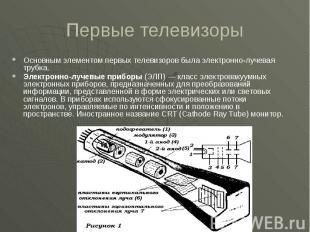 Первые телевизоры Основным элементом первых телевизоров была электронно-лучевая