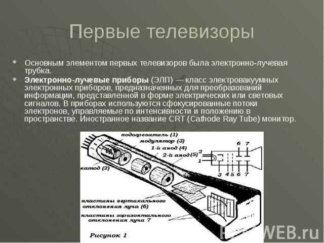 Первые телевизоры Основным элементом первых телевизоров была электронно-лучевая трубка. Электронно-лучевые приборы (ЭЛП)— класс электровакуумных электронных приборов, предназначенных для преобразований информации, представленной в форме электр…