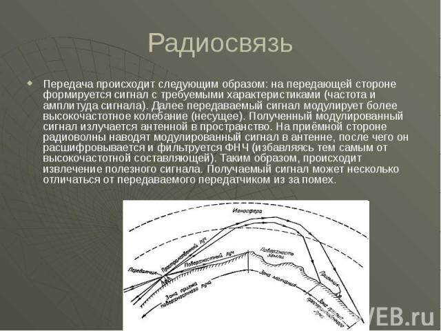 Радиосвязь Передача происходит следующим образом: на передающей стороне формируется сигнал с требуемыми характеристиками (частота и амплитуда сигнала). Далее передаваемый сигнал модулирует более высокочастотное колебание (несущее). Полученный модули…
