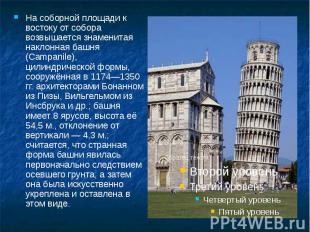 На соборной площади к востоку от собора возвышается знаменитая наклонная башня (