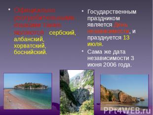 Официально употребительными языками также являются сербский, албанский, хорватск