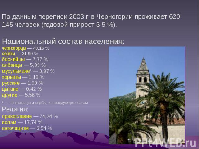 По данным переписи 2003г. в Черногории проживает 620 145 человек (годовой прирост 3,5%). Национальный состав населения: черногорцы— 43,16% сербы— 31,99% боснийцы — 7,77% албанцы— 5,03% мусульмане…