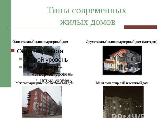 Типы современных жилых домов