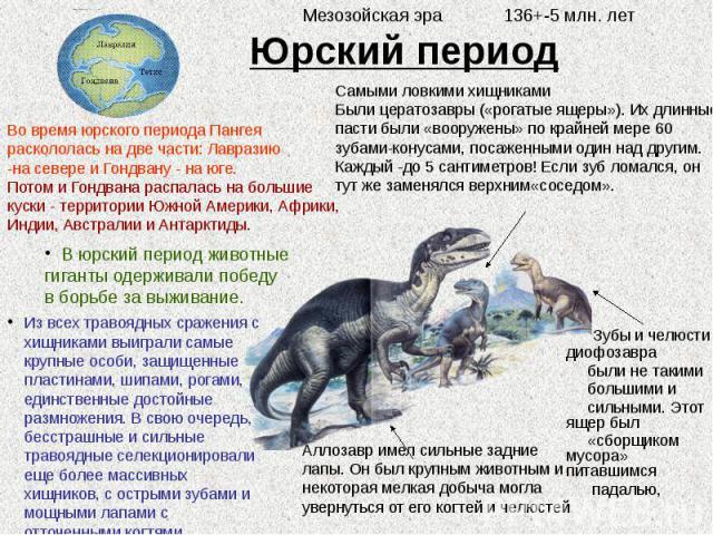 Юрский период Зубы и челюсти диофозавра были не такими большими и сильными. Этот ящер был «сборщиком мусора» питавшимся падалью,
