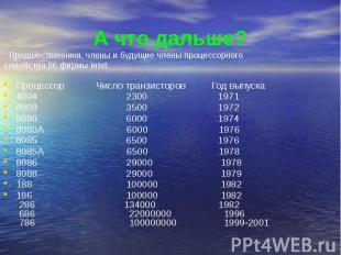 А что дальше? Процессор Число транзисторов Год выпуска 4004 2300 1971 8008 3500