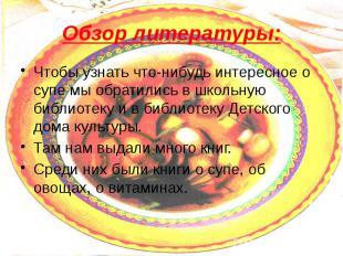 Обзор литературы: Чтобы узнать что-нибудь интересное о супе мы обратились в школ