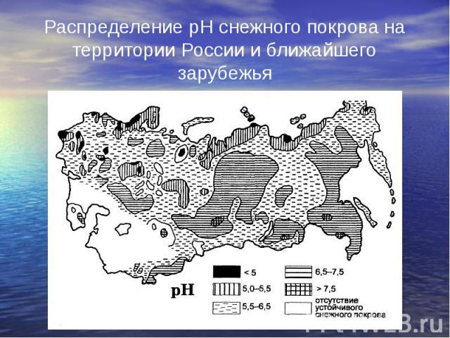 Распределение рН снежного покрова на территории России и ближайшего зарубежья