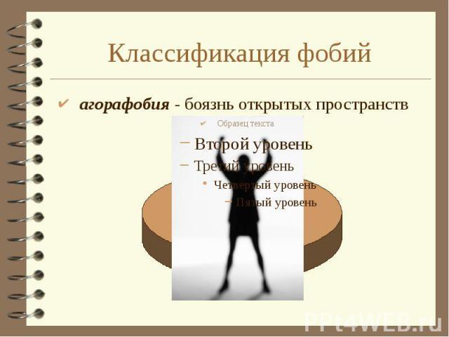 Классификация фобий агорафобия - боязнь открытых пространств