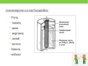 Анализируем состав батарейки: Ртуть свинец цинк марганец литий железо Никель коб