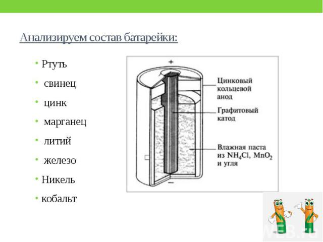 Анализируем состав батарейки: Ртуть свинец цинк марганец литий железо Никель кобальт