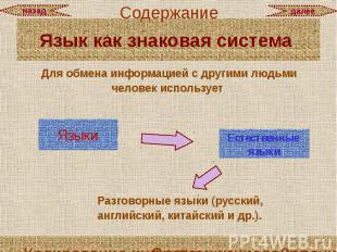 Язык как знаковая система Для обмена информацией с другими людьми человек исполь