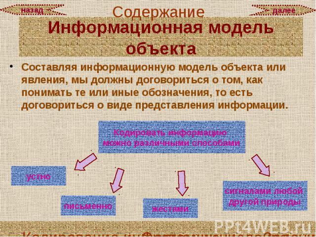 Составляя информационную модель объекта или явления, мы должны договориться о том, как понимать те или иные обозначения, то есть договориться о виде представления информации. Составляя информационную модель объекта или явления, мы должны договоритьс…