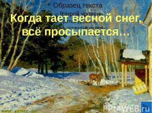 Когда тает весной снег, всё просыпается…