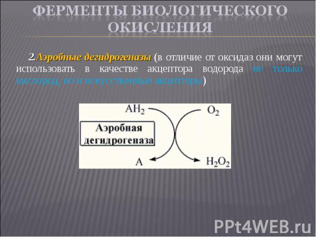 Аэробные дегидрогеназы (в отличие от оксидаз они могут использовать в качестве акцептора водорода не только кислород, но и искусственные акцепторы) Аэробные дегидрогеназы (в отличие от оксидаз они могут использовать в качестве акцептора водорода не …