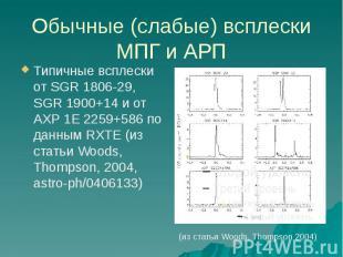 Обычные (слабые) всплески МПГ и АРП Типичные всплески от SGR 1806-29, SGR 1900+1