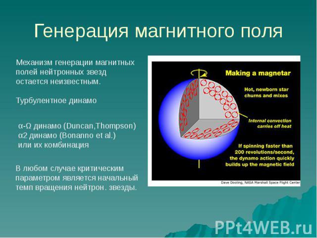 Генерация магнитного поля