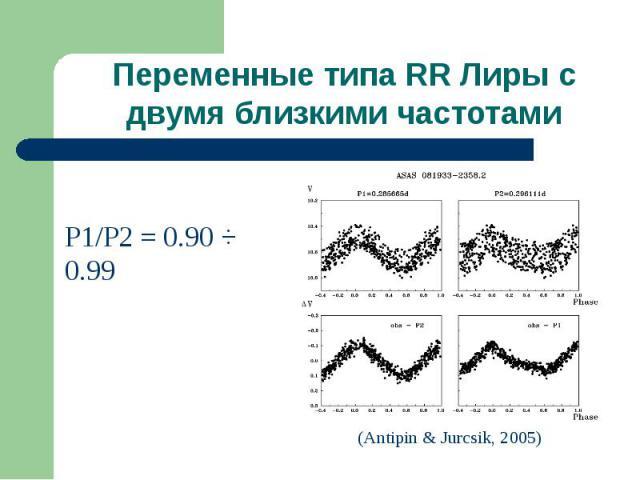 Переменные типа RR Лиры с двумя близкими частотами
