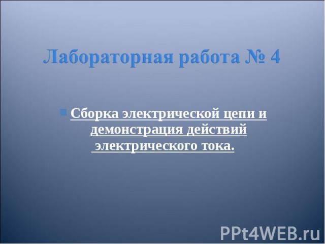Сборка электрической цепи и демонстрация действий Сборка электрической цепи и демонстрация действий электрического тока.