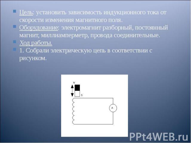 Цель: установить зависимость индукционного тока от скорости изменения магнитного поля. Цель: установить зависимость индукционного тока от скорости изменения магнитного поля. Оборудование: электромагнит разборный, постоянный магнит, миллиамперметр, п…